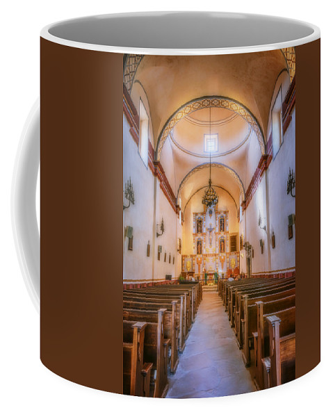 Joan Carroll Coffee Mug featuring the photograph Mission San Jose Chapel Glow by Joan Carroll