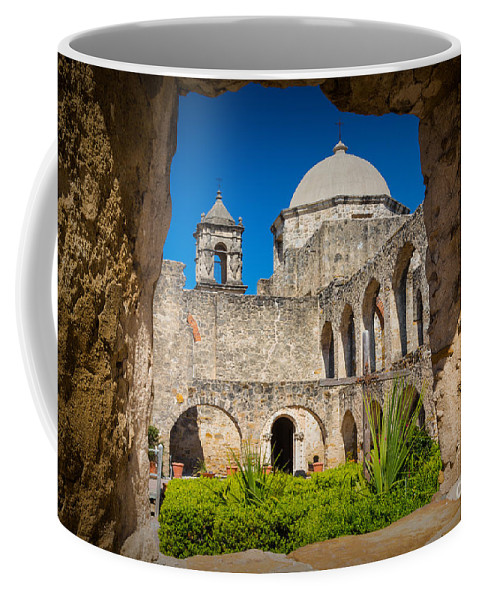 America Coffee Mug featuring the photograph Mission Window by Inge Johnsson