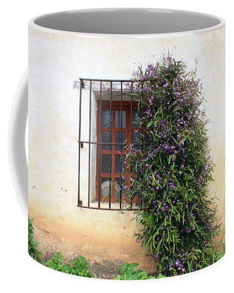 Purple Flowers Coffee Mug featuring the photograph Mission Window With Purple Flowers by Carol Groenen
