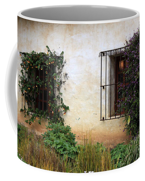 Vines Coffee Mug featuring the photograph Mission Windows by Carol Groenen