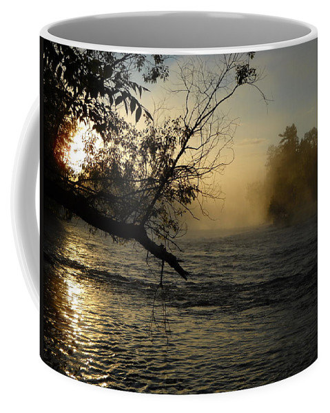 Mississippi River Coffee Mug featuring the photograph Mississippi River Foggy June Sunrise by Kent Lorentzen