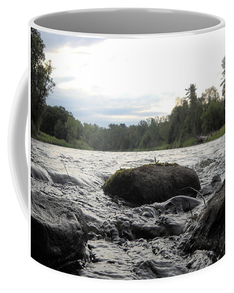 Mississippi River Coffee Mug featuring the photograph Mississippi River Rocks At Dawn by Kent Lorentzen