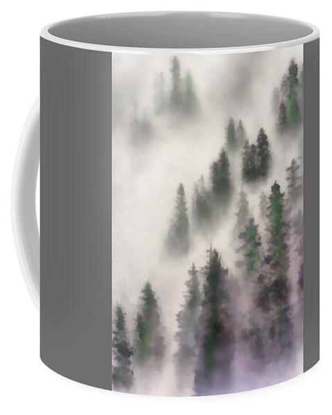 Scenes Coffee Mug featuring the digital art Misttrees by Scott Smith