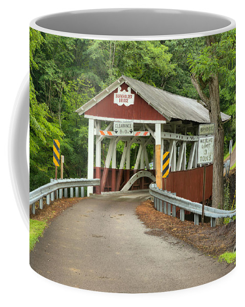 Burkholder Covered Bridge Coffee Mug featuring the photograph Misty Afternoon At Burkholder by Adam Jewell
