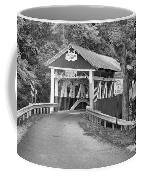 Burkholder Covered Bridge Coffee Mug featuring the photograph Misty Afternoon At Burkholder Black And White by Adam Jewell