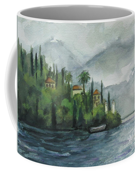 Mist Coffee Mug featuring the painting Misty Island by Laurie Morgan