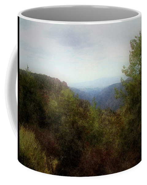 Cliffs Coffee Mug featuring the digital art Misty Morn In The Mountains by RC DeWinter