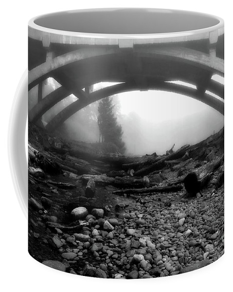 Bridge Coffee Mug featuring the photograph Misty Morning In Black And White by Lauren Leigh Hunter Fine Art Photography