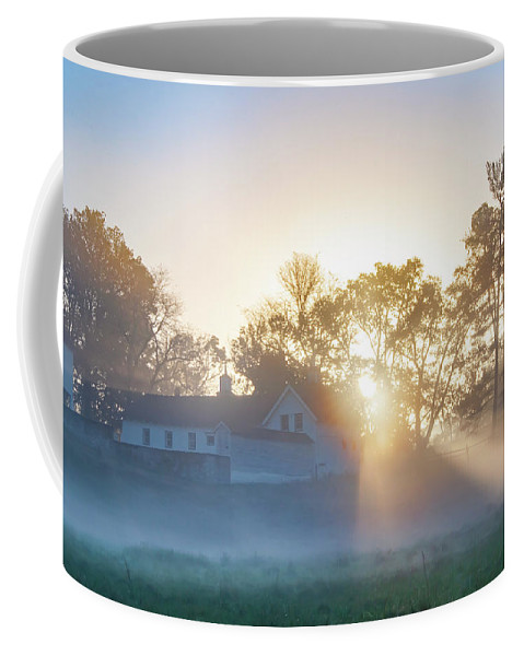 Misty Coffee Mug featuring the photograph Misty Morning Sunrise - Valley Forge by Bill Cannon