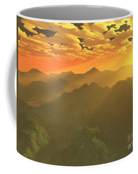 Computer Art Coffee Mug featuring the digital art Misty Mornings In Neverland by Gaspar Avila