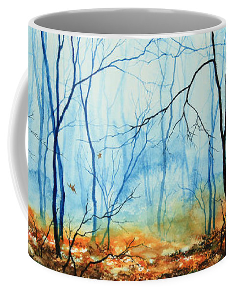 Misty November Woods Coffee Mug featuring the painting Misty November Woods by Hanne Lore Koehler