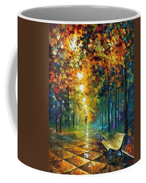 Afremov Coffee Mug featuring the painting Misty Park by Leonid Afremov