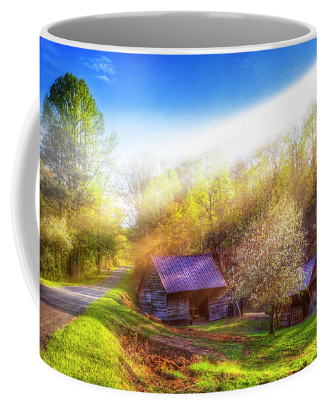 Appalachia Coffee Mug featuring the photograph Misty Spring Morning by Debra and Dave Vanderlaan