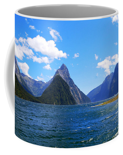 Mitre Peak Coffee Mug featuring the photograph Mitre Peak In Milford Sound New Zealand by Catherine Sherman