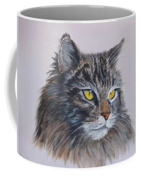 Painting Coffee Mug featuring the painting Mitze Maine Coon Cat by Vicky Path