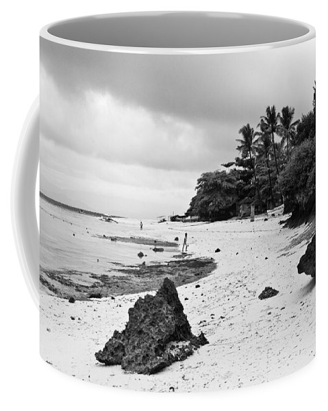Beach Coffee Mug featuring the photograph Moalboal Cebu White Sand Beach in Black and White by James BO Insogna