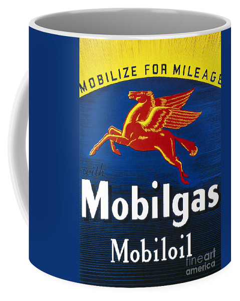 1935 Coffee Mug featuring the photograph Mobil Advertisement, 1935 by Granger
