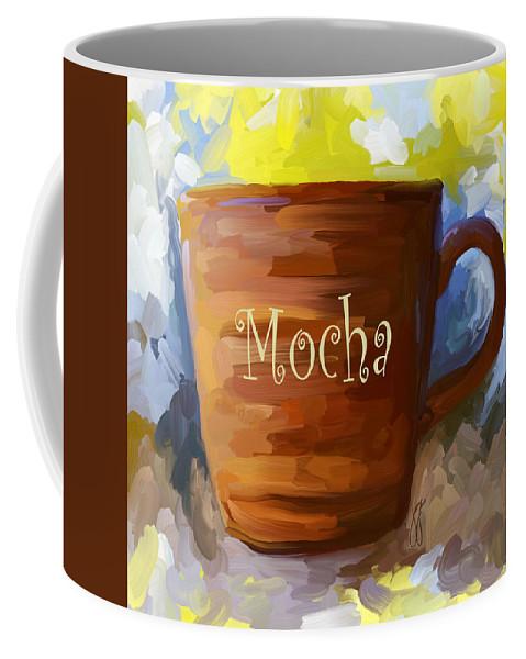 Coffee Coffee Mug featuring the painting Mocha Coffee Cup by Jai Johnson