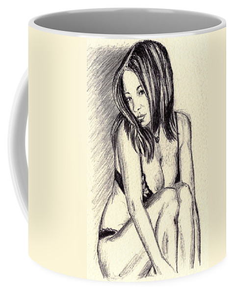 Coffee Mug featuring the drawing Model Quick Drawing by Alban Dizdari