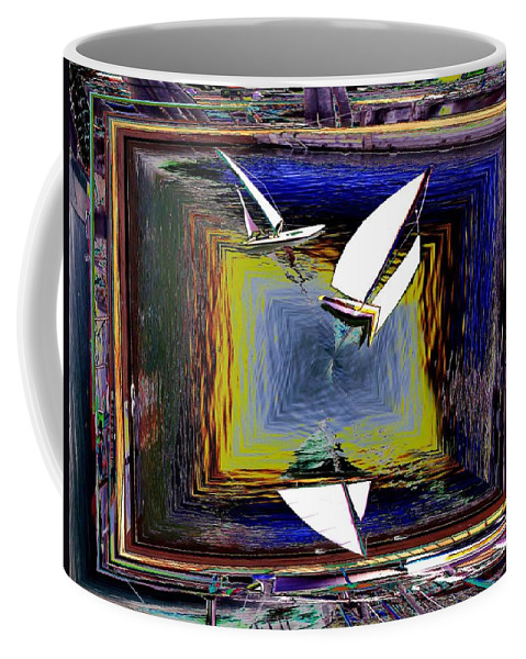 Sail Coffee Mug featuring the digital art Model Sailboats by Tim Allen