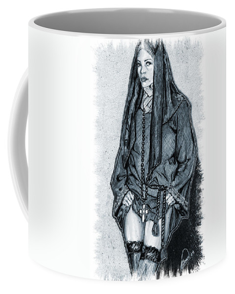 Model Coffee Mug featuring the mixed media Model Wearing A Religeous Uniform by Alban Dizdari