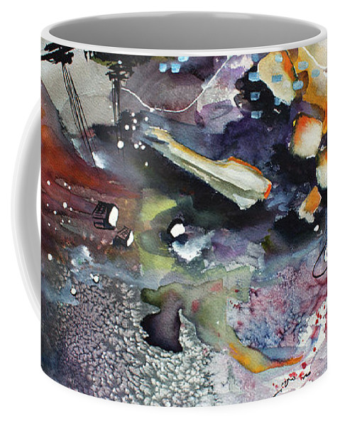 Watercolors Coffee Mug featuring the painting Modern Art Travel Log 03 Dec 7 2017 by Ginette Callaway