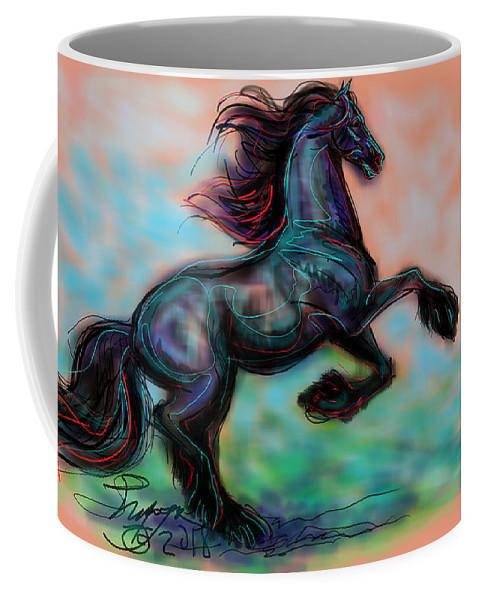 Friesian Horse Coffee Mug featuring the digital art Modern Royal Friesian by Stacey Mayer