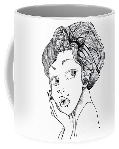 Women Coffee Mug featuring the drawing Modified Woman by Perggals - Stacey Turner