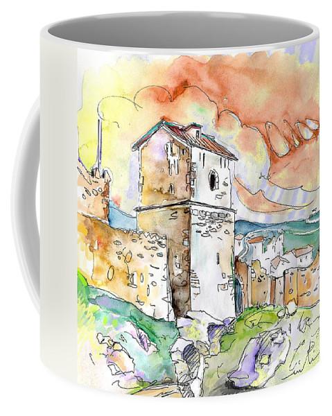 Travel Sketch Coffee Mug featuring the painting Molina De Aragon Spain 02 by Miki De Goodaboom