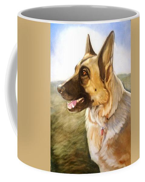 German Shepherd Coffee Mug featuring the painting Mollie by Marilyn Jacobson