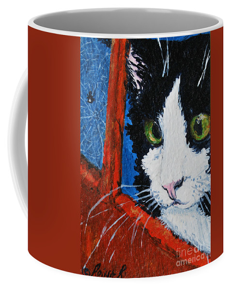 Cat Coffee Mug featuring the painting Molly by Reina Resto