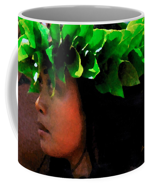 Hula Coffee Mug featuring the digital art Molokai Wahine Dancer by James Temple