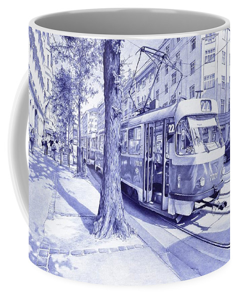 Tram Coffee Mug featuring the drawing Moment In Prague - Ballpoint Pen Art by Andrey Poletaev