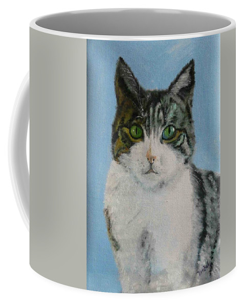 Tomcat Coffee Mug featuring the painting Momo by Helmut Rottler