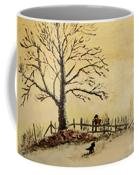 Boy With Dog Coffee Mug featuring the painting Mom's Calling by Marilyn Smith