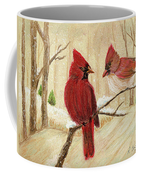 Redbirds Coffee Mug featuring the painting Mom's Favorite Redbirds by Robin Chaffin
