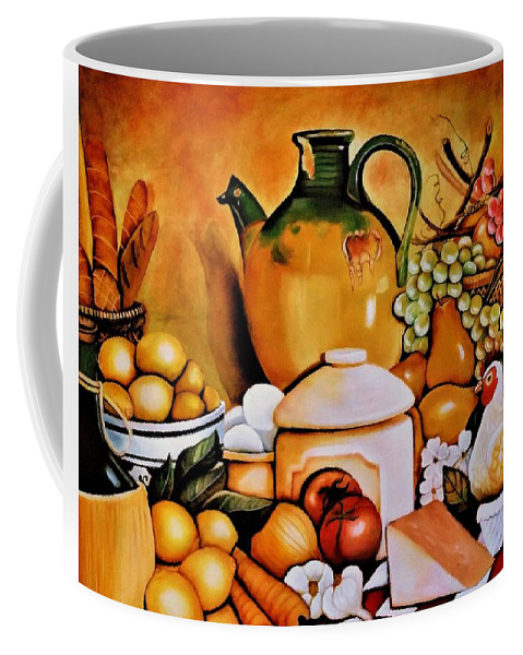 Still Life Coffee Mug featuring the painting Mom's Kitchen by Dalgis Edelson
