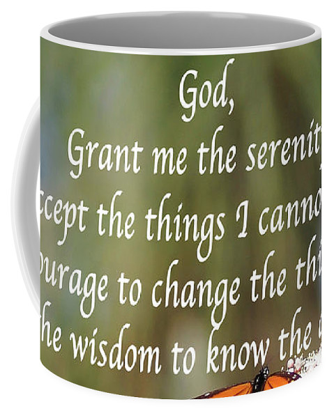 Reflections Coffee Mug featuring the photograph Monarch Serenity Prayer by Debby Pueschel