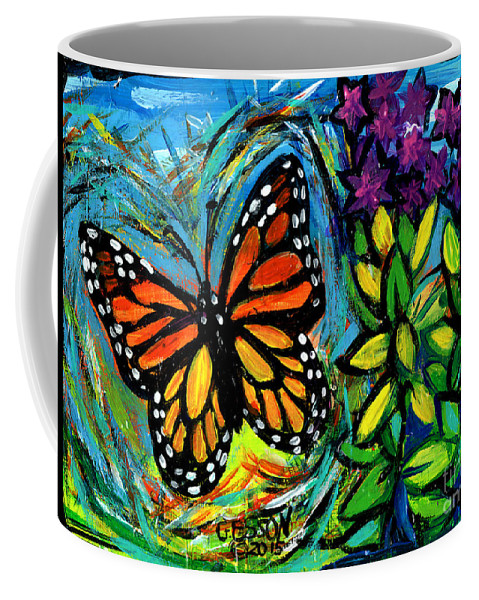 Monarch Coffee Mug featuring the painting Monarch With Milkweed by Genevieve Esson