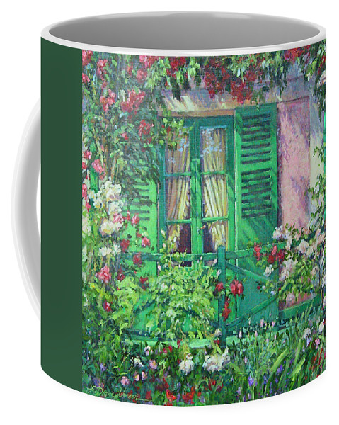 Monets House In Giverny France Coffee Mug featuring the painting Monet's Window by L Diane Johnson