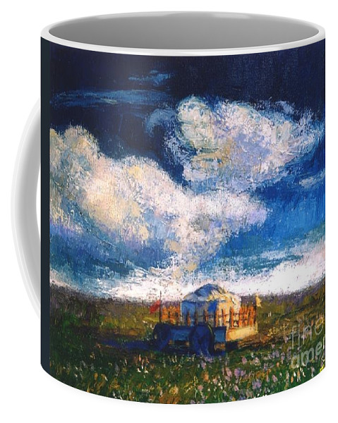 Momgolian Coffee Mug featuring the painting Mongolian Home by Meihua Lu