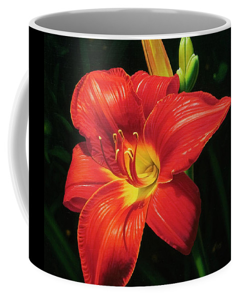 Lily Coffee Mug featuring the painting Monikas Red Lily by Gary Hernandez