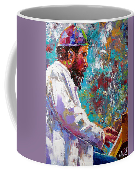 Thelonious Monk Art Coffee Mug featuring the painting Monk Live by Debra Hurd