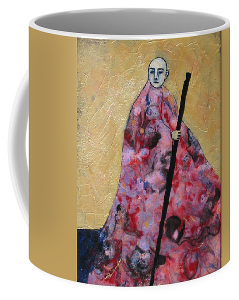 Gold Coffee Mug featuring the painting Monk With Walking Stick by Pauline Lim