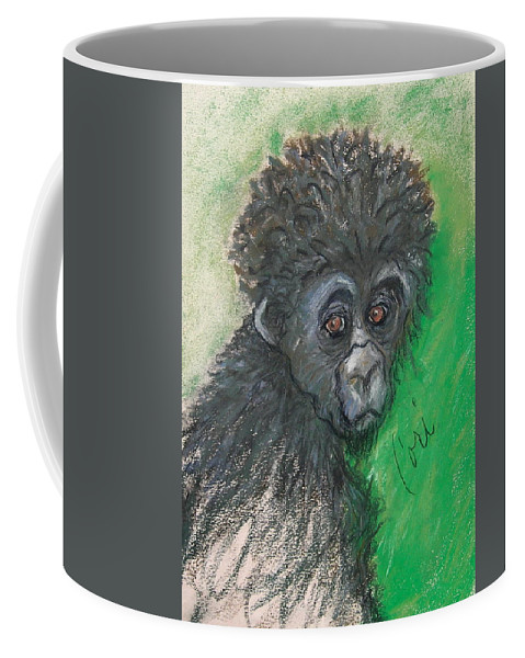 Monkey Coffee Mug featuring the drawing Monkey Business by Cori Solomon