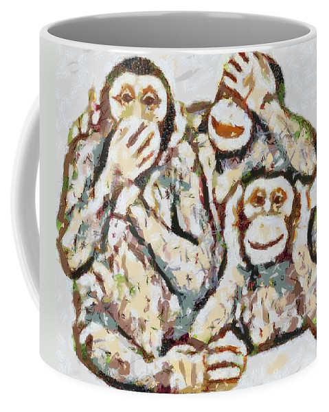 Monkey See Monkey Do Fragmented Coffee Mug featuring the digital art Monkey See Monkey Do Fragmented by Catherine Lott