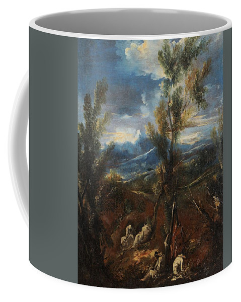 Circle Of Alessandro Magnasco (1667-1749) Monks Resting In A Wood Coffee Mug featuring the digital art Monks Resting In A Wood by Mark Carlson