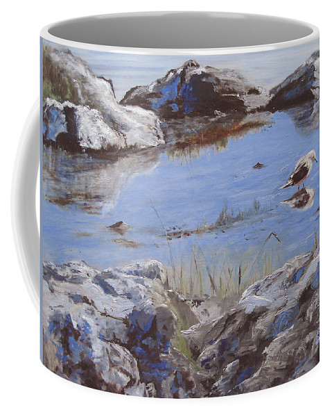 Animal Coffee Mug featuring the painting Mono Lake by Barbara Andolsek
