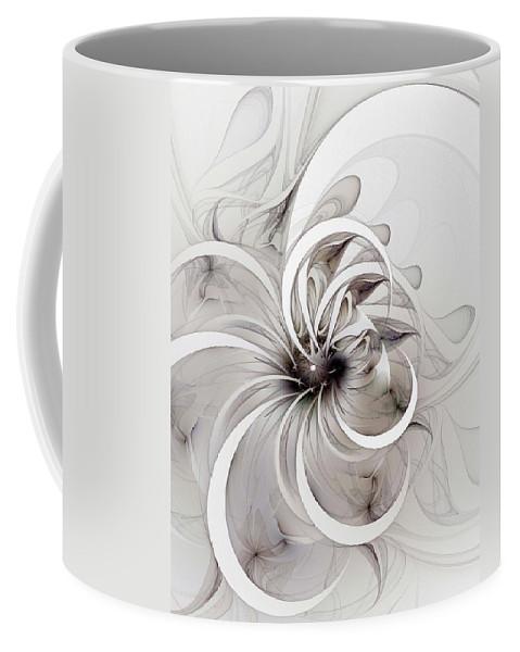 Digital Art Coffee Mug featuring the digital art Monochrome Flower by Amanda Moore