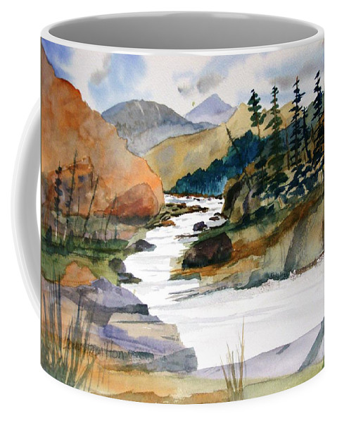 Watercolor Coffee Mug featuring the painting Montana Canyon by Larry Hamilton